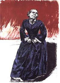 007 Shows a print depicting a woman dressed in a floor length