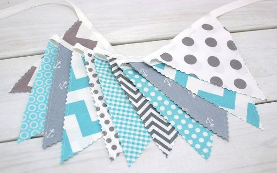 Bunting banner fabric flags nautical nursery decor for Nautical nursery fabric