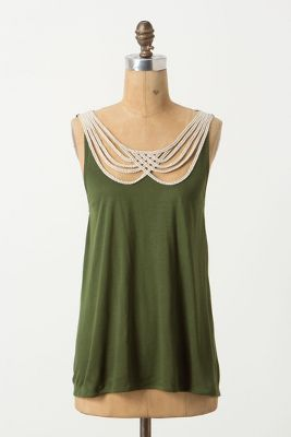 Scalloped Strings Tank, I'm hoping there's some sort of nude lining going on there otherwise it would be areola city without a cami, and the design doesn't look like it would look good with a cami.