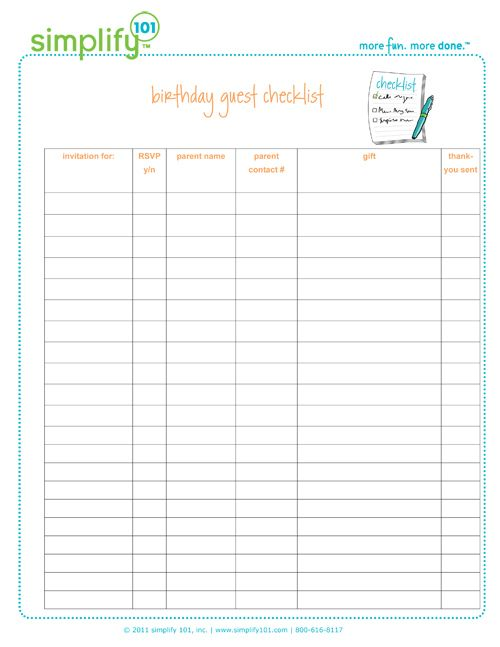 Birthday List Template Free Amazing 8 Best Party Checklists Images On Pinterest  Dessert Tables 15 .