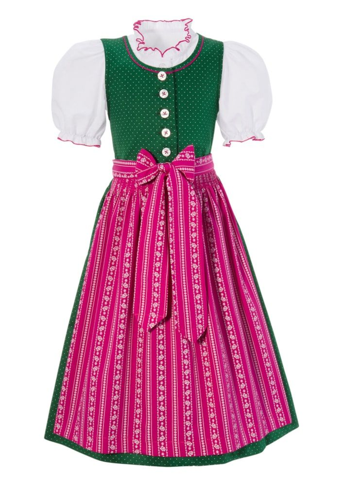 146 von Landhaus Kinder Trachten Kleid mit Bluse grün Gr
