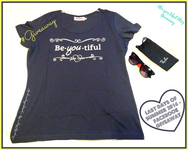 <<LaSt DaYs of #SuMMer #2016 – Facebook #GivEawaY>> Ο διαγωνισμός αυτός περιλαμβάνει δύο δώρα: ♥Kοντομάνικη μπλούζα (μπλε χρώμα) με το logo του blog σε λευκά γράμματα. (Γυναικείο T-shirt που ταιριάζει τέλεια με τα τζιν σου (και όχι μόνο) για casual εμφανίσεις, σε καλής ποιότητας μακό ύφασμα. Μέγεθος M/L.) ♥Μαύρα γυαλιά. (Γυαλιά τύπου Ray-ban σε πολύ απλές γραμμές και σχέδιο που ταιριάζει σε όλα τα πρόσωπα.)  Για να λάβετε μέρος στο #διαγωνισμό πήγαινε εδώ ➡http://bit.ly/2blorS2