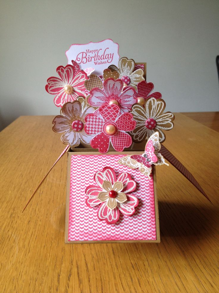 Card in a Box made with the Stampin Up Flower Shop set.