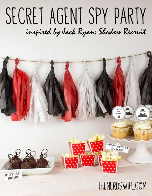 """Secret Agent Spy Party with Meatball Bombs, """"Pop"""" Secret Popcorn Snacks, and a free printable for cupcake toppers!"""