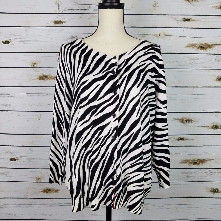 Piper   Blue Cardigan Sweater 1X Black Ivory Zebra 3 4 Sleeves Cotton Blend  Soft 179abb814