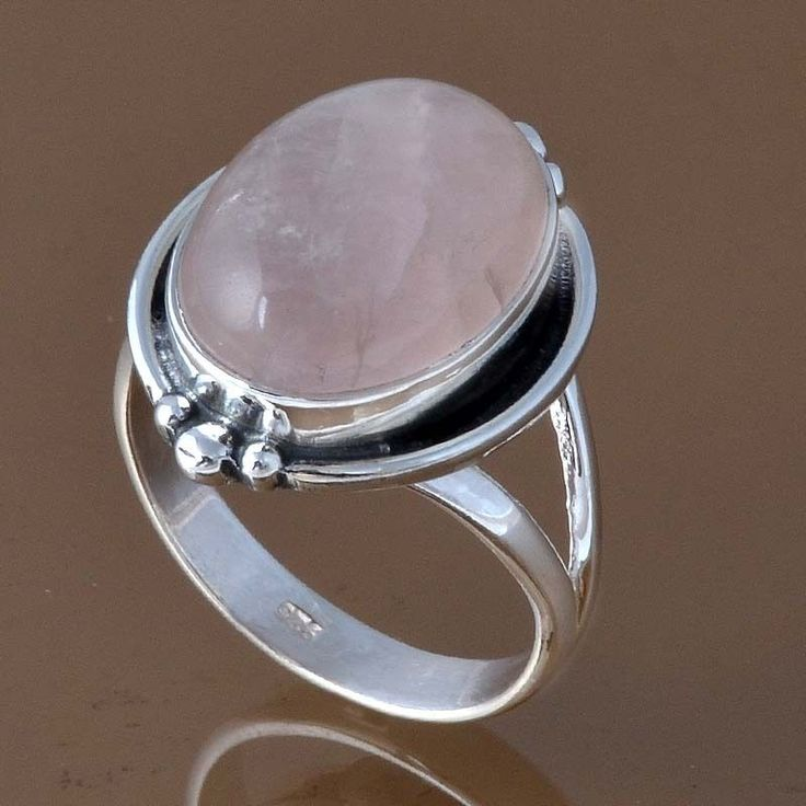 EXCLUSIVE 925 STERLING SILVER ROSE QUARTZ RING 6.09g DJR8279 SZ-8.5 #Handmade #Ring