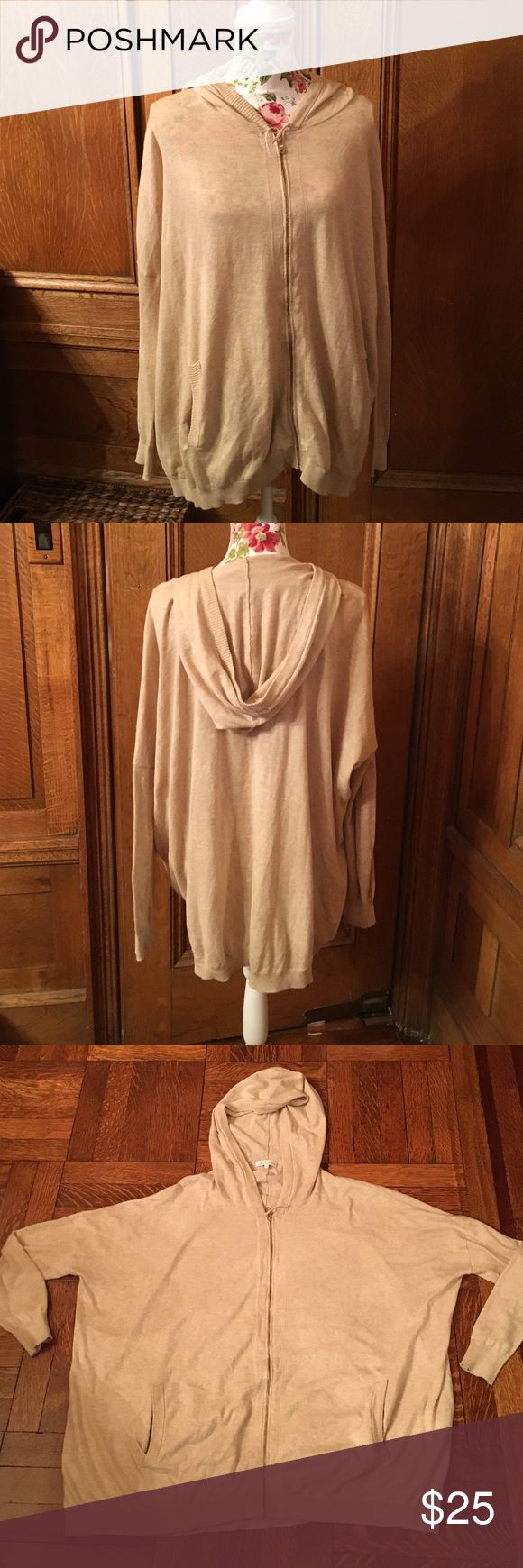"""Cotton oversized zip up Hoodie sweater Tan with gold zipper. Size m/l but fits oversized. Pit to pit 30"""" shoulder to hem 26"""" slide pockets on each side. Great for layering. minnie rose Sweaters Cardigans"""