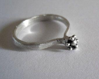 Regolabile argento ossidato anello cerchio con motivo a