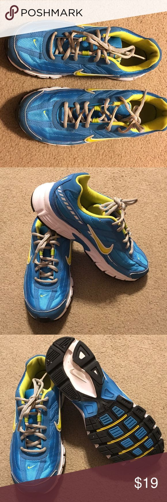 Ladies teal and yellow Ladies 8 Nike running shoe Ladies Nike running shoe.  Teal and yellow. Lots of wear left. Size 8. Non smoking home. Nike Shoes Athletic Shoes