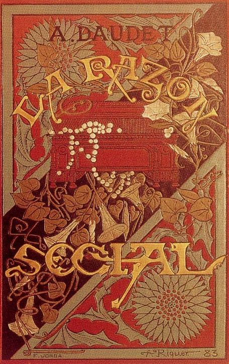 La Razon Social by Alphonse Daudet, cover illustrated by Alexandre de Riquer, 1883
