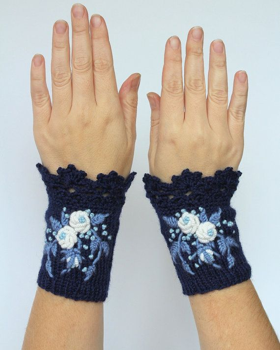 READY TO SHIP, Knitted Fingerless Gloves, Roses, Blue,Clothing And Accessories, Gloves & Mittens, Gift Ideas, For Her Accessories,Fall