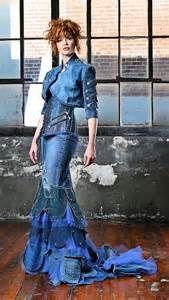 upcycled denim formal dress