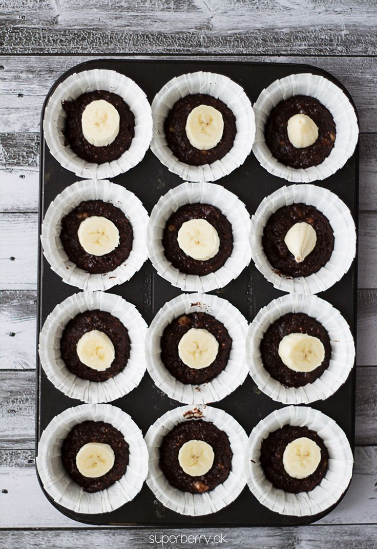 Paleo Chocolate Banana Muffins. These muffins are extremely delicious! Perfect for everyone on Paleo diet. Chocolate muffins with a piece of banana inside, the only sweetener used is natural agave syrup. No grains, no gluten, because of use of almond and coconut flour. Everyone should try this recipe!