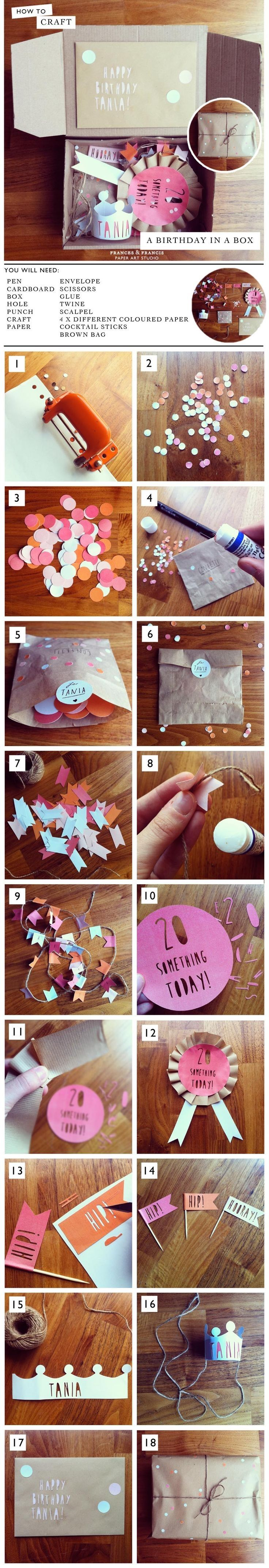 Birthday in A Box - DIY Surprise - 14 Pinspired DIY Birthday Gift Tutorials