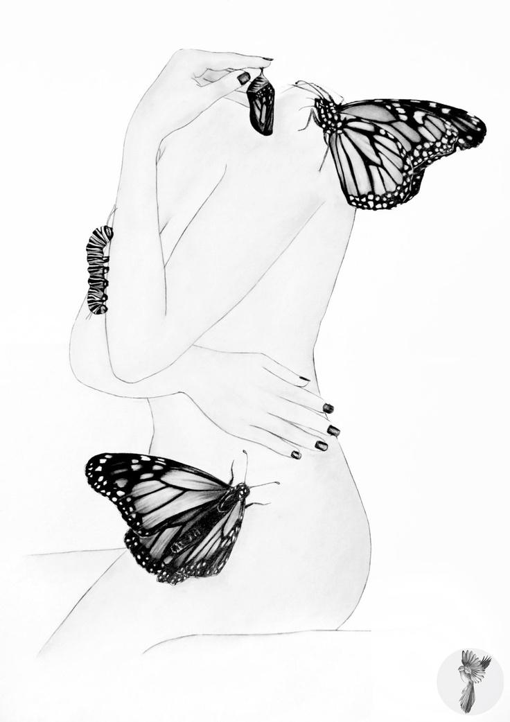 #ElementEdenArtSearch Madam Butterfly A3 Graphite