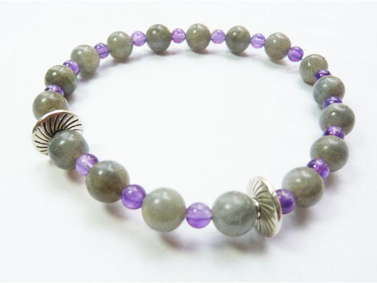 #Bracelet #Labradorite & #Améthyste #zen  #pierre #faitmain #handmade