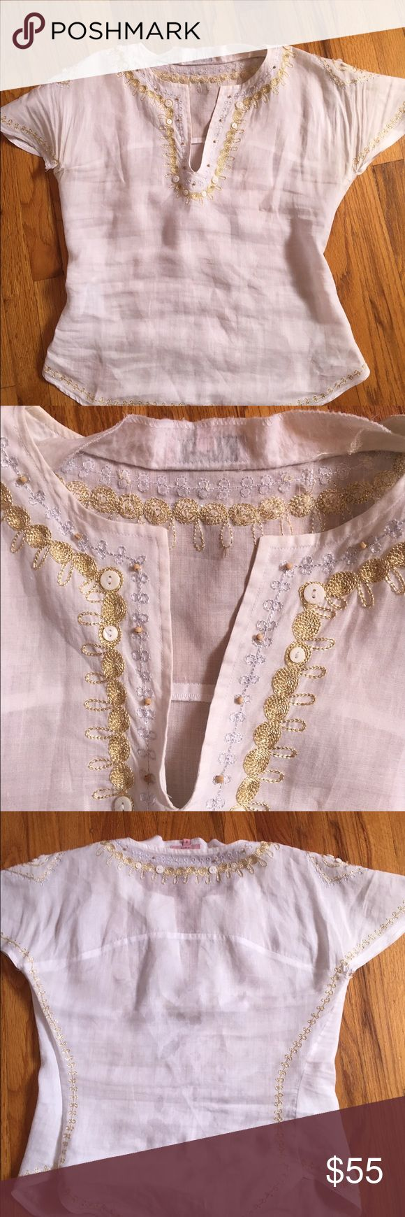 Ted Baker linen top shirt size small 2 short sleeve white linen shirt by Ted Baker size 2/small.  has a small fixable rip at left underarm that can be sewn. Baker by Ted Baker Tops