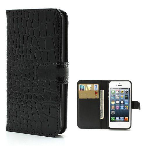 Glanzend zwart krokodillenleer bookcase hoesje voor iPhone 5 / 5s