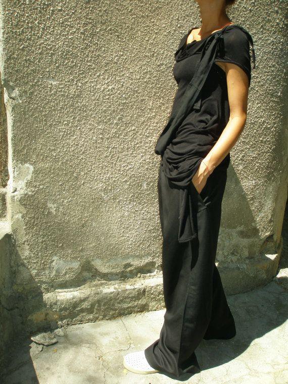 Loose Linen Black Pants / Wide Leg Pants Autumn by Aakasha on Etsy,