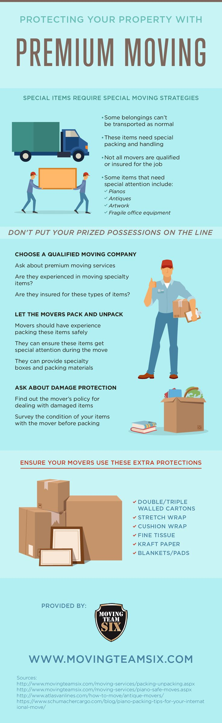 Large or fragile items can be tricky to transport to your new home, but the right moving service will be of help! Look at this infographic to find out how you can protect your property. #Infographic #data visualization #moving labor services #packers and movers #movers #moving company