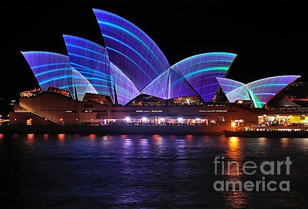 #VIVID #SYDNEY by #KAYE #MENNER - #Opera #House .. #Blue Lines   Prints at:  http://kaye-menner.artistwebsites.com/featured/vivid-sydney-by-kaye-menner-opera-house--blue-lines-kaye-menner.html  -