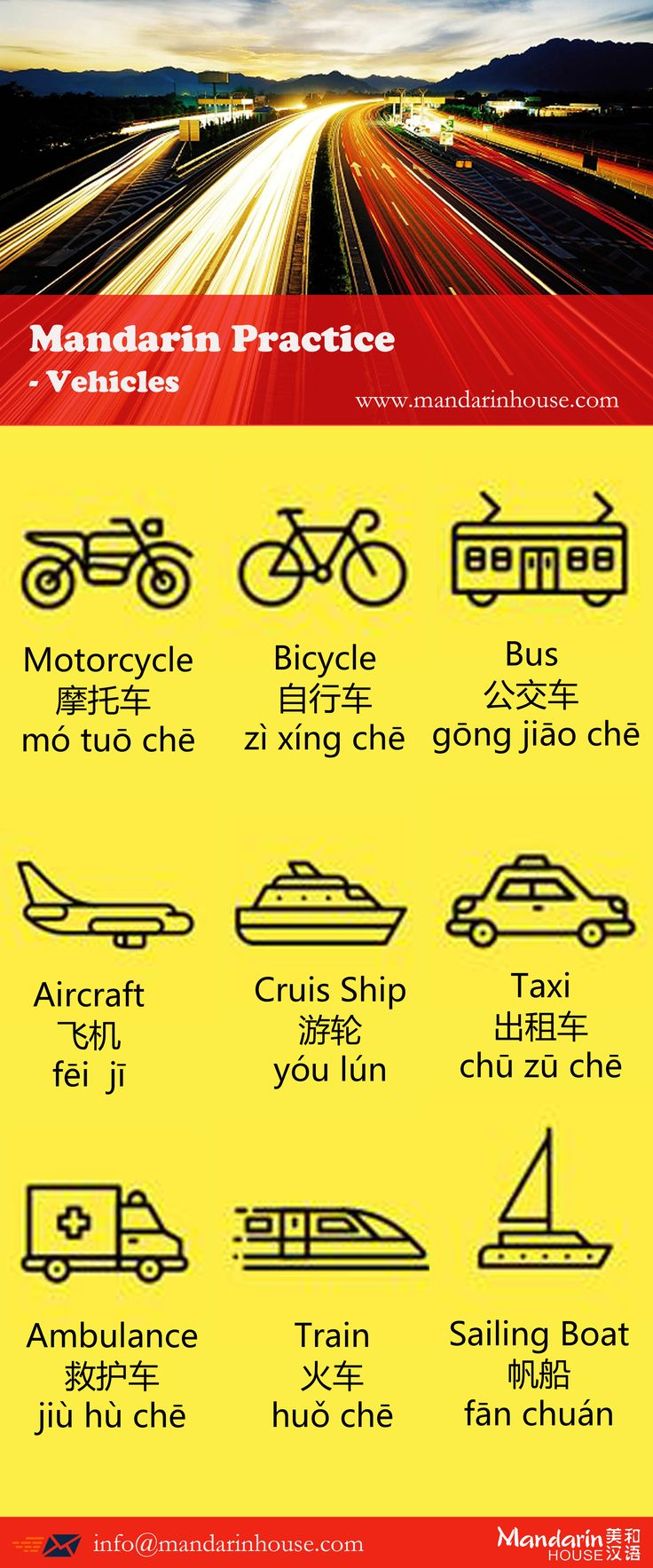 Vehicles in Chinese.For more info please contact: sophia.zhang@mandarinhouse.cn The best Mandarin School in China.