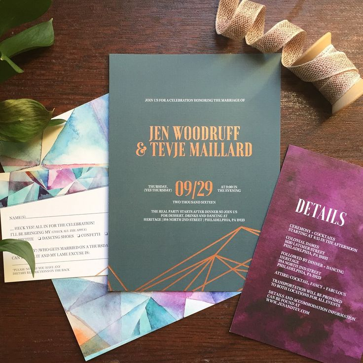 Eclectic Jewel Tone Geometric Wedding Invitations 16