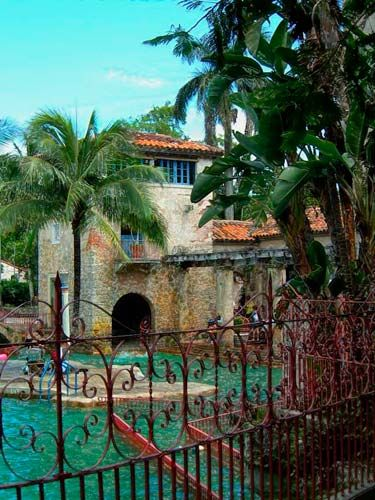 Venetian Pool (Coral Gables, Florida) It's the city municipal pool!  What a great place to visit.  But your child must be at least 2 to enter.  They didn't believe my baby was 2 (she was small), so I held her up to the window and had her recite the alphabet!  They let her in.