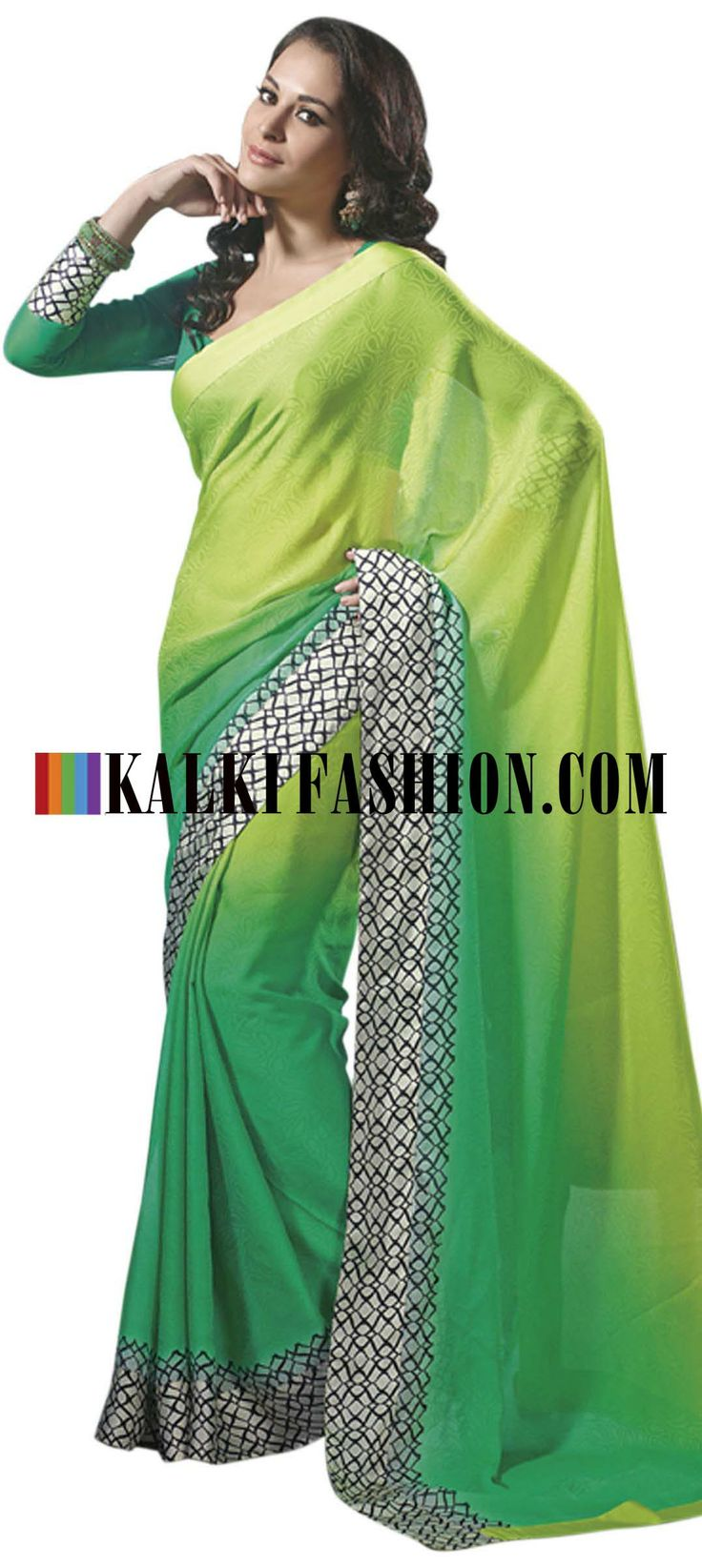 Buy Online from the link below. We ship worldwide (Free Shipping over US$100) http://www.kalkifashion.com/shaded-green-saree-with-printed-border.html Shaded green saree with printed border