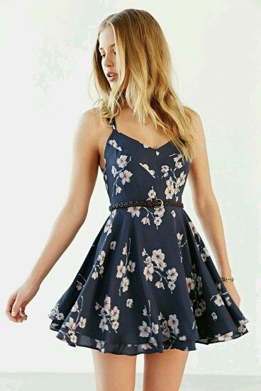 Cute navy and pink floral dress for springtime.