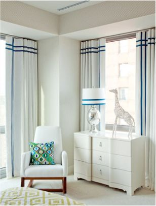 Trim idea for drapery or shade | Classic Blue and white with vertical and horizontal stripes. Bear Hill Interiors