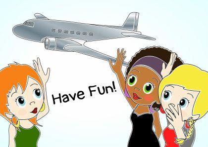 Uitzwaaien, goede reis, have fun. Vriendinnen zwaaien vliegtuig uit.