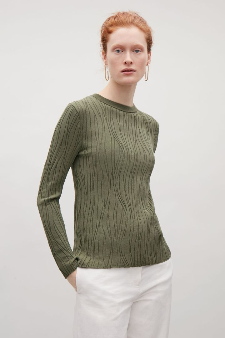 COS image 2 of Wavy stitch top in Khaki Green