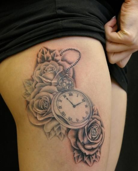 10 Foot Rose Tattoo Designs: Grey Ink Roses And Clock Tattoos On Thigh