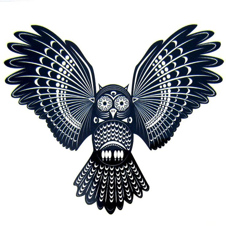 1pcs Cool Owl Bird Tattoos Women Men Arm Designs,Beautiful Black Back Owl Bird Waterproof Temporary Tattoo Stickers Art C003