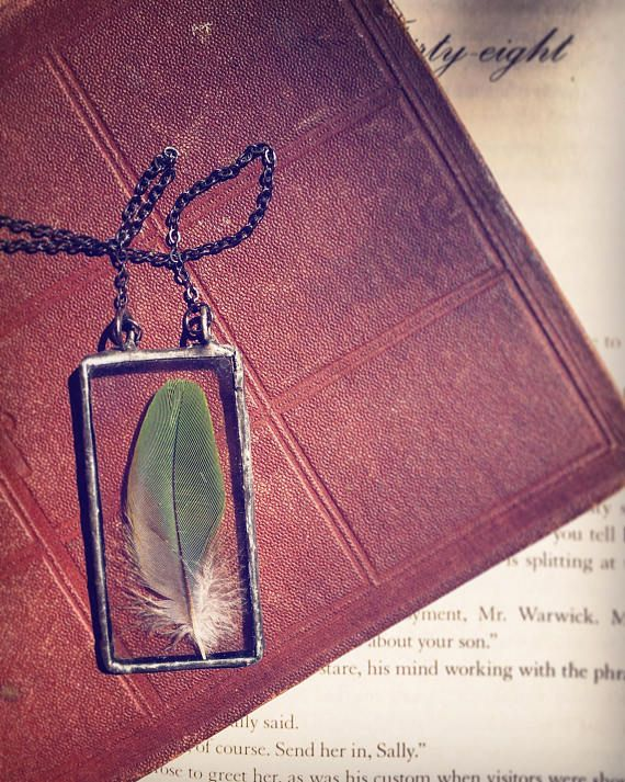 Real Feather Necklace, Hand Cut Glass, Wearable Terrarium, Time Capsule, mother nature, OOAK, woodland, boho style  Gunmetal, Rectangle Green Feather Pendant 2.5cm x 6cm Pendant with a Gun Metal Finish  32inch long Gunmetal Chain  Made with Eco Tin  AKB-14-88  Please let me know when you have received your package:) *********************************************************************************  Handmade with Love and Care. Hand Picked out of nature, Hand Pressed/Dried, & Gently se...