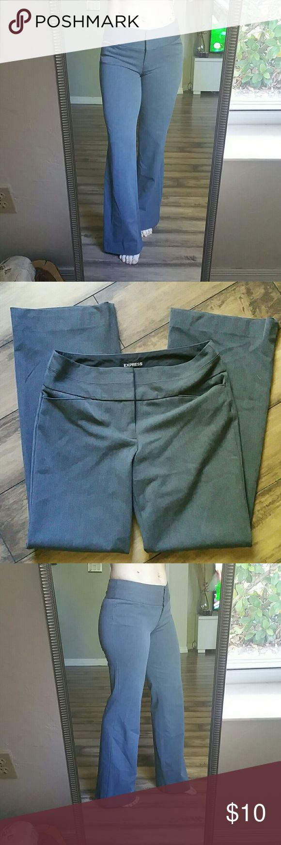"""Express gray size 4 stretch dress pants Size 4 stretch fit dress pants great for the office I'm 5""""4 and they look great with heels Express Pants Trousers"""