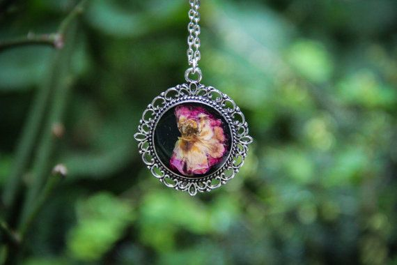 Rosa Wichuriana Resin Pendant Necklace Garden by SavageSpell