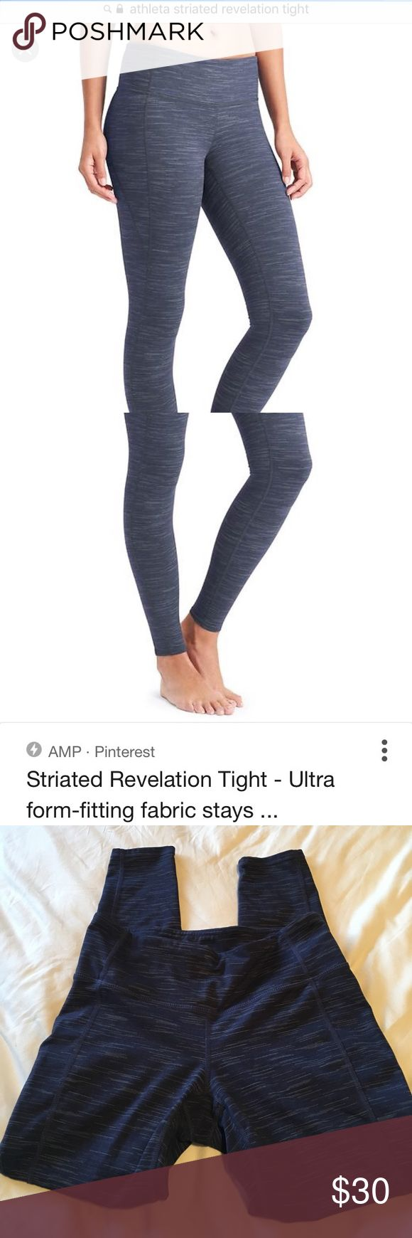 Athleta striated revelation tight - size MP Hello, I'm selling these gently used Athleta tights! They're size medium petite. They are in great condition and very comfortable. Please let me know if you have any questions! Athleta Pants Leggings