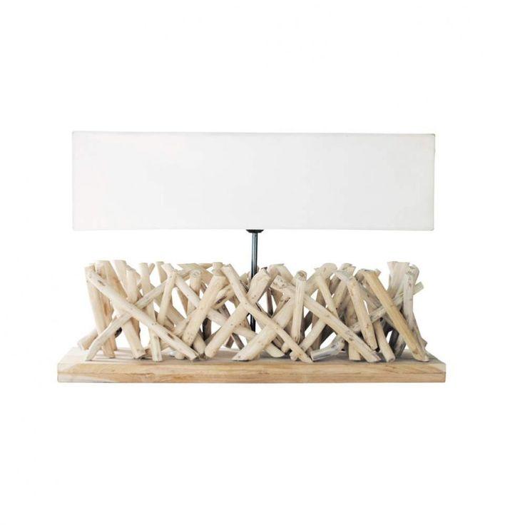 Maison du monde Lampe en bois flotté et abat-jour en tissu H 16 cm FJORD Dimensions (cm) : H 40 x L 60 x PR 16  79,99 €