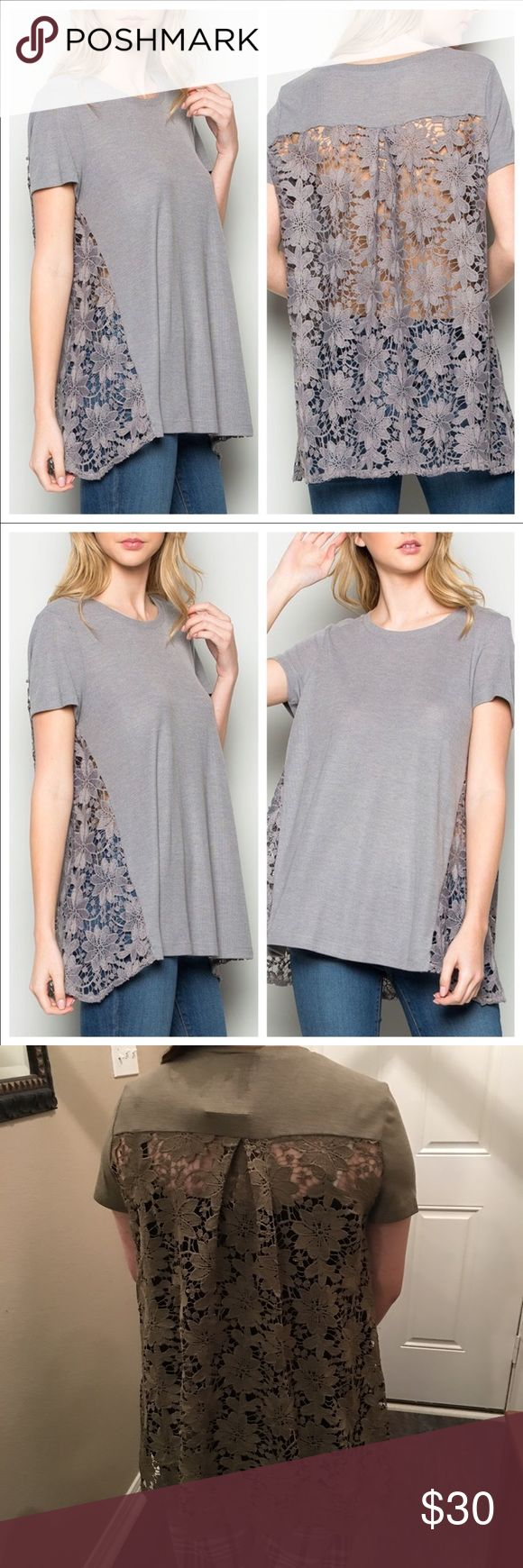 Floral back lace top. Feminine touch 🌱❣️ This one is everything too. So pretty on. I have the model in bottom pics showing the olive with bad girl leggings layered with tank underneath and wedge sandals. Price is for one shirt only. Smoke and pet free. Bundle up ladies. Grey or Olive. Both gorgeous. October Love Tops