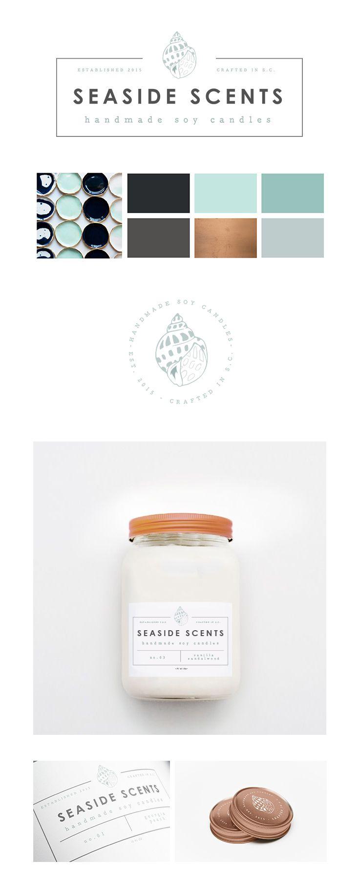 Seaside Scents | Modern Candle Label Design | Brand Identity Pack | MVAZ Design | www.mvazdesign.com