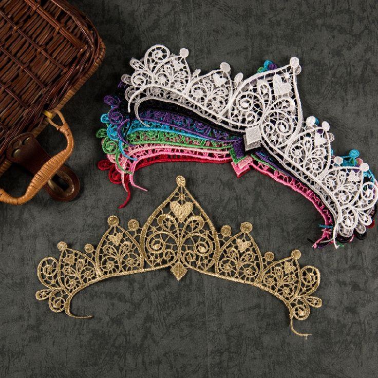 Корона кружева вышитые ткани наклейки патч цвет золотой свадебный головной убор танец одежды аксессуары одежды CDJ02- глобальной станции Taobao
