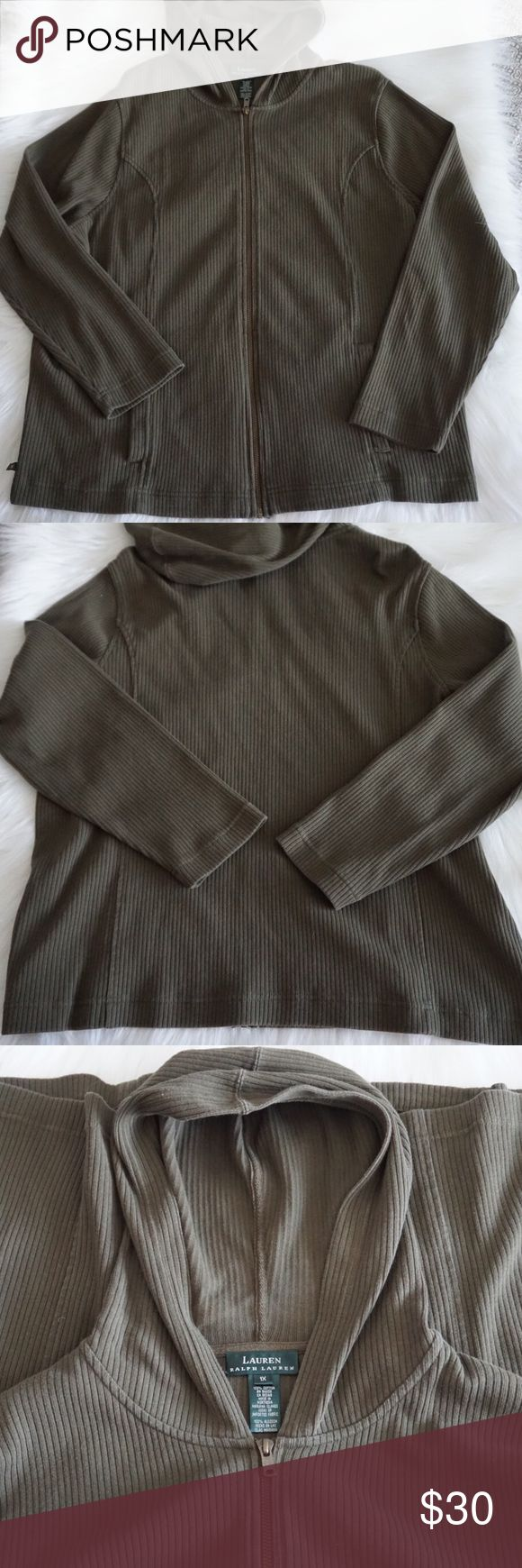 Lauren Ralph Lauren Olive Green Zip Up Hoodie 1X 💚Really cool and comfy olive green zip up hoodie! Has pockets! Measurements: sleeves- 23.5 inches, armpit to armpit- 25 inches, top to bottom- 26 inches from tag.🚫 trades! 💚 Lauren Ralph Lauren Tops Sweatshirts & Hoodies