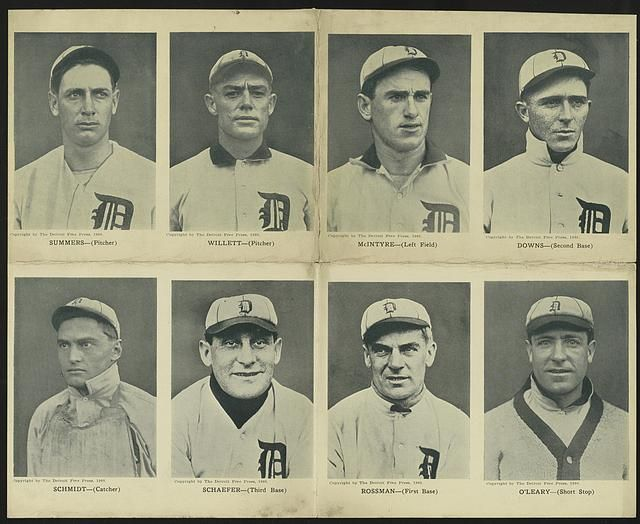 Portraits of Detroit baseball players - Sheet of eight postcards featuring Detroit baseball players: Summers (Pitcher); Willett (Pitcher). McIntyre (Left Field); Downs (Second Base); Schmidt (Catcher); Schaefer (Third Base); Rossman (First Base) and O'Leary (Short Stop). c. 1908