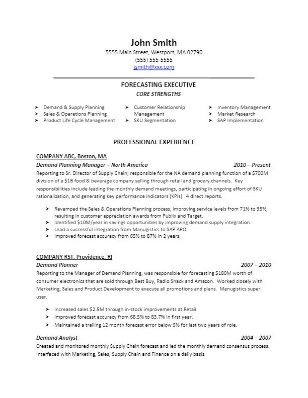 sample demand planning resume for more resume writing tips visit  lifeworksearch com
