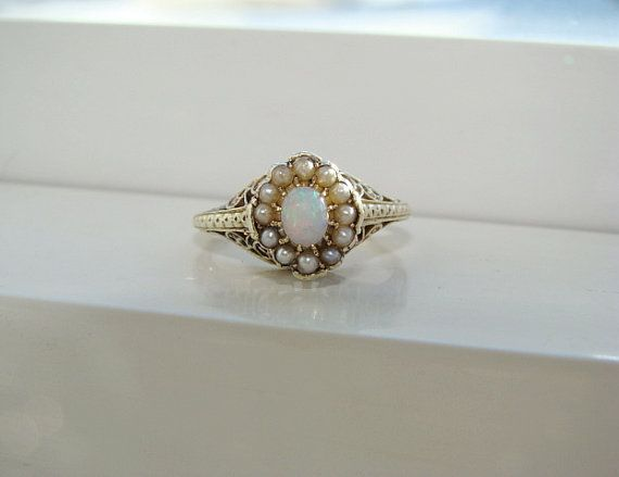 Antique Opal Pearl Ring Gemstone Engagement Ring Edwardian Victorian Filigree