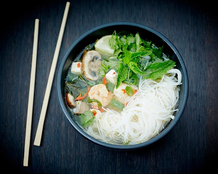 Vietnamese Pho with king prawns