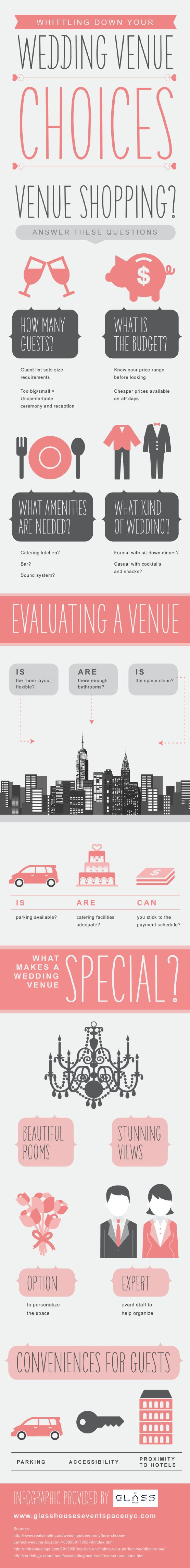 When choosing a wedding venue, it is a good idea to ask about catering options. The right venue will make it easy to serve a tasty meal to your wedding guests. Find more planning suggestions by checking out this infographic from a wedding venue in NYC.