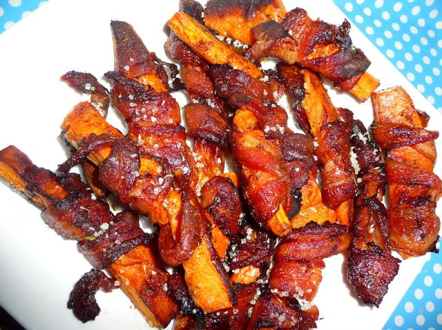 bacon wrapped sweet potato wedges!!! like candy!